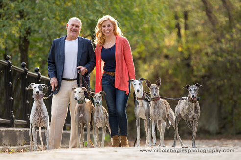 Dave and Marci with greyhounds